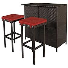 amazon com best choice products 3pc wicker bar set patio outdoor