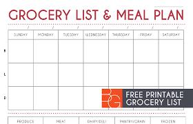 printable meal planner free list and meal plan printable