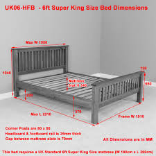 King Size Bed Uk Width London Solid Oak 6ft Super King Size Bed High Foot Board