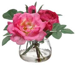silk roses august grove edge hill silk roses in glass vase reviews wayfair