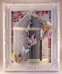 16 handmade shabby chic bird cage origami book fold art framed 10