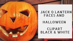 jack o lantern faces and halloween pumpkin clipart black and white