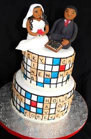 wedding cake theme tier scrabble theme wedding cake with and groom toppers jpg