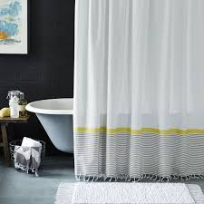 Yellow And White Shower Curtain Grey And White Shower Curtain Also Stripe Border Bottom And Yellow
