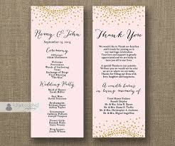 gold wedding programs blush pink gold glitter wedding program sided 4x10