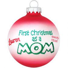 personalized first christmas as mom glass ornament bronner u0027s