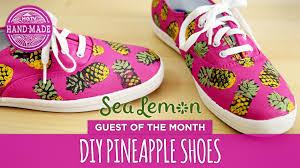 diy pineapple shoes by sea lemon white shoes challenge week