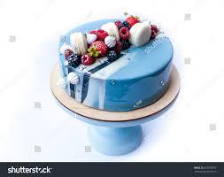 mirror glaze cake mouse cake decorated light blue mirror stock photo 657673870