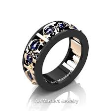 black and blue wedding rings mens modern 14k black and gold blue sapphire skull channel