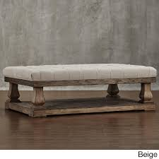 60 inch long coffee table knightsbridge tufted linen baluster 60 inch cocktail ottoman free