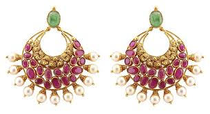 gold earrings gold chand bali earrings with rubies pearls jl au 108 jewelove