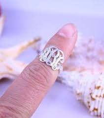 monogrammed rings silver cut out 3 initials monogram ring name ring cut script