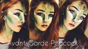 avant garde peacock halloween makeup tutorial youtube