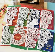 paper cut christmas cards greeting three fold business carving new