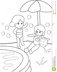 girls by the pool kid coloring page stock illustration image