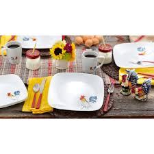 corelle 32 piece squares country dawn dinnerware set walmart com