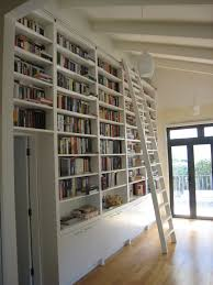 Modern White Bookcase by Modern Library Decor With White Stained Wooden Bookcase With White