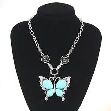 butterfly necklace aliexpress images Vintage big butterfly necklace pendant blue stone silver chain jpg