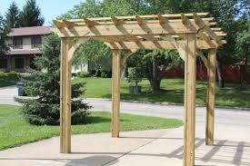 garden u0026 outdoor wooden pergola plans with four props on backyard