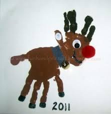 double handprint rudolf red nosed reindeer craft fun