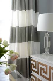 White And Grey Curtains Horizontal Striped Drapes Contemporary Den Library Office