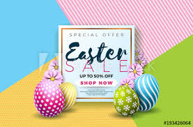 easter egg sale easter sale illustration with color painted egg and typography