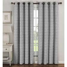 Grey And White Curtain Panels Window Elements Semi Opaque Greek Key Cotton Blend Extra Wide 96