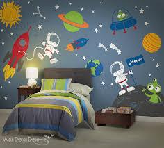 chambre enfant espace décalque de mur espace planètes astronaute boy enfants