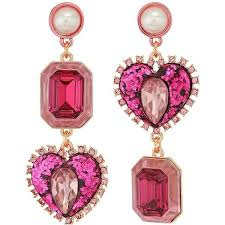 pink earrings betsey johnson gold pink heart non matching earrings