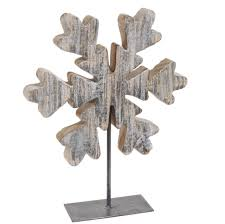 snowflake table top decorations 13 winter light brown and metallic silver wooden snowflake on stand