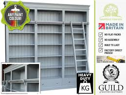 Library Bookcases With Ladder Large Grey Painted Library Bookcase With Ladders Bk3 Ld40 Made To
