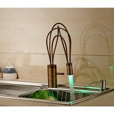 led kitchen faucet single handle antique brass finish deck mount led kitchen faucet