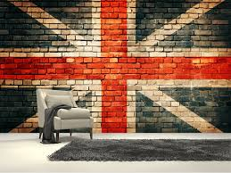 union jack on old brick wall mural room set wall murals and bricks