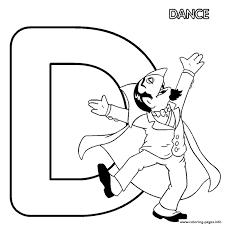 dance sesame street in letter d printable alphabet s6328 coloring