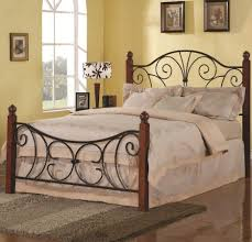 brown black black wrought iron bed frames aside arch window in