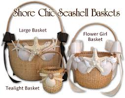 wedding program basket flower girl seashell shell basket nantuket nautical