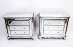 Glass Mirrored Bedroom Set Furniture Furniture Mirrored Chest With Double Drawers And Doors For Home