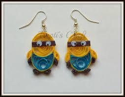 minion earrings paper quilling minion earrings