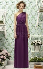 a line sleeveless one shoulder grape chiffon floor length purple
