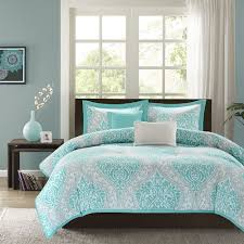 beautiful modern chic blue aqua teal grey tropical beach comforter