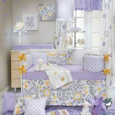 girls nursery bedding sets baby purple lavender yellow floral grey crib nursery quilt