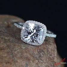 layaway engagement rings white sapphire cushion halo engagement ring 3ct 8mm custom
