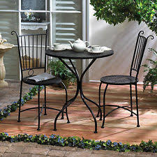 Wicker Bistro Table And Chairs Home Locomotion Black Metal Outdoor Garden Patio Table And 2