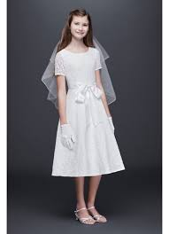 where to buy communion dresses lace a line communion dress with wide satin sash david s bridal