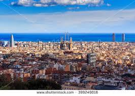 barcelona city view panoramic view barcelona city mountain spain stock photo 399249016