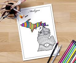 coloring page michigan map usa maps coloring pages for