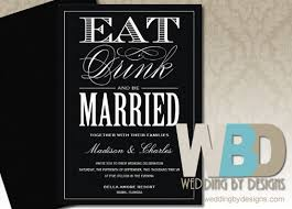 Eat Drink And Be Married Invitations Black Wedding Invitations Classic Wedding Elegant Wedding