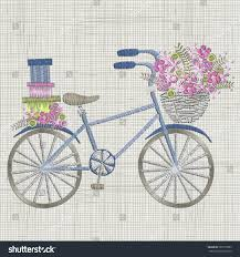 bicycle embroidery small blue flowers basket stock vector