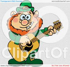 clipart of a cartoon happy st patricks day leprechaun playing an
