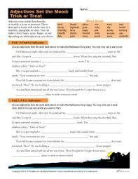 halloween adjectives worksheet trick or treat